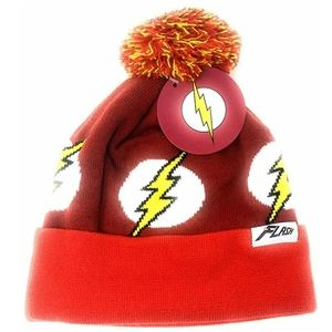 DC World's Finest THE FLASH Beanie Pom Hat Cap NWT